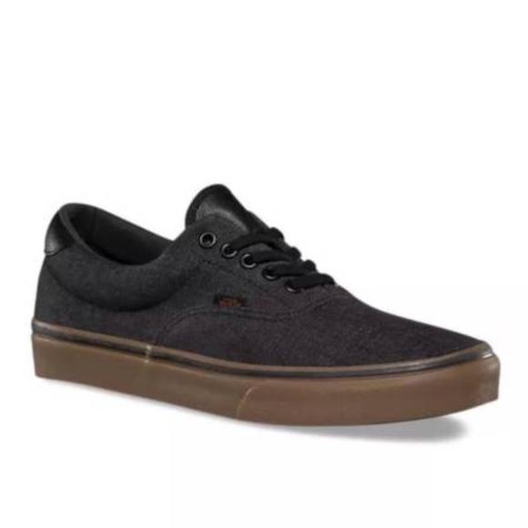 72b9ad2b28 Vans Era 59 Denim C L Black Gum Canvas Skate Shoes